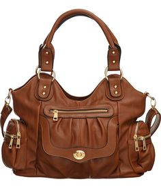 "Purse Boutique: Brown ""Times Square"" Shoulder-to-Crossbody Utilitarian Hobo Bag, Purses"