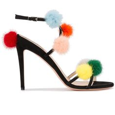 Fendi pompom sandals (22.180 CZK) ❤ liked on Polyvore featuring shoes, sandals, black, ankle wrap sandals, stiletto sandals, open toe sandals, black leather shoes and ankle strap sandals