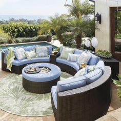 PASADENA MODULAR OUTDOOR COLLECTION. Aluminum frame outdoor seating, with cooler ottoman and customizable fabric options. Frontgate.com