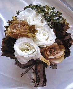 Camoflauge weddings prices | Wedding Bouquet Bridal Silk Flower Camouflage Cream Brown Ivory Camo ...