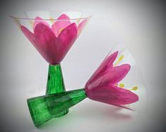 Pink flower martini glasses, hand painted martini glasses, flower martini glasses, pink martini glasses, cocktail glasses, gift for her
