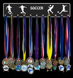 Soccer medal hanger and medal holder that can be personalized