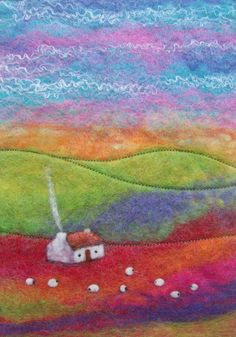 Rainbow Hills Felt Landscape with Cottage by AileenClarkeCrafts