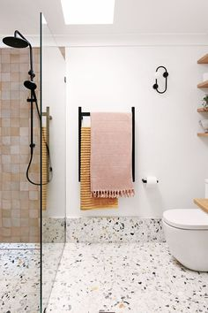 A clash of Terrazzo and Moroccan tiles are becoming popular statement pieces used across Australian bathrooms. Blush palettes and bright pops of warm tones are transforming bathrooms into design havens. Bad Inspiration, Bathroom Inspiration, Bathroom Ideas, Bathroom Organization, Bathroom Designs, Bathroom Showers, Diy Shower, Bath Shower, Bathroom Inspo