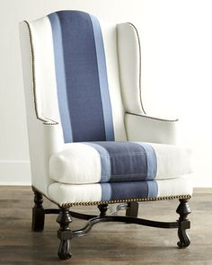 I should re-do my wingback chairs like this!     Colorblock+Wing+Chair+by+Massoud+at+Horchow.