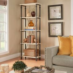 Weston Home Factory Metal Supports Bookcase- #hayneedle