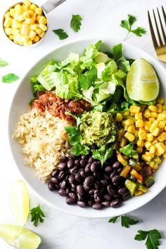 This Vegan Burrito Bowl is full of flavor and easy to make at home! Just...