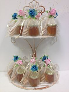 12 Qty Tea Party Favors Mini Honey Jar With Dipper in by holyhoney, $46.00