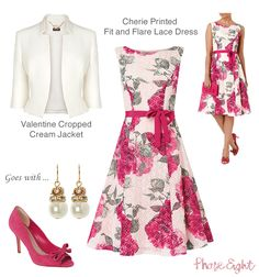 Phase Eight wedding guest outfits. Cherie fit and flare printed lace dress in pretty pink florals with boat neck, detachable belt and tulle skirt. Style with the Valentine cropped jacket.
