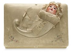 The Memory of All That - Marquis Antique Doll Auction: 88 Deluxe Silk Musical Candy Box with Doll Cornucopia