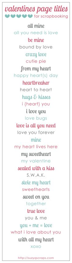 valentines and love scrapbook ideas | valentines scrapbook page titles                                                                                                                                                     More