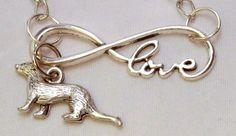 Infinite love ferret necklace in silvertone   Celtic Mink Jewelry and Stuff