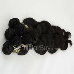 10 Inch - 30 Inch 3 Pieces Same Length Virgin Brazilian Remy Hair Weft Body Wavy Natural Black 300g