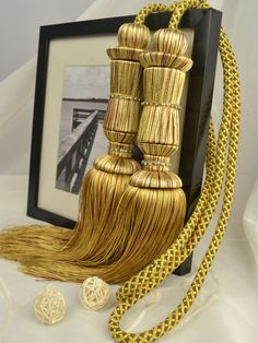 6 Colors QYM26 Polyester Curtain Tassel Tie Backs in Yellow Color