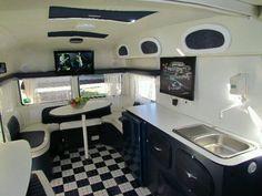 black and white caravan interior