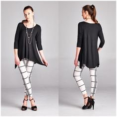 Essential Black Tunic Top Essential black tunic top for every wardrobe. Made of rayon/spandex blend perfect to pair with leggings   Leggings in pictures available in my closet (sold separately)  Available in S, M, L, XL  Bundle and save! B Chic Tops Tunics