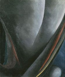 """Georgia O'Keeffe, """"Abstracción. Resplandor I"""", 1921. Museo Thyssen Bornemisza. La ideología de la feminidad persiguió la trayectoria artística de O'Keeffe. Modelo de la producción fotográfica de su marido Alfred Stieglitz, la fuerte carga erótica de los desnudos de estas fotografías acompañará la lectura del trabajo de la pintora. #ProgramaNosotras"""