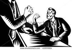 Illustration of a man looking scared as he arm wrestles with a giant. #armwrestling #woodcut #illustration