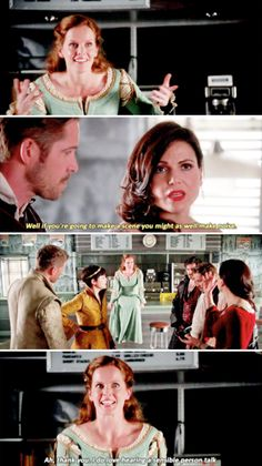 """I do love hearing a sensible person talk"" - Zelena, Regina David, Snow, Robin and Killian #OnceUponATime"