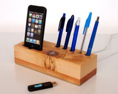 iPhone Dock and Pen Holder with extra USB - unique desk / office accessory - natural, reclaimed, reused, geekery