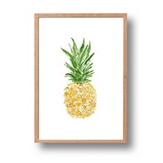 Pineapple art print pineapple watercolor print by TheJoyofColor Pineapple Art, Pineapple Watercolor, Pineapple Kitchen, Pineapple Ideas, Tropical Kitchen, Watercolor Print, Watercolor Paintings, Yellow Cupboards, Rustic Kitchen Decor