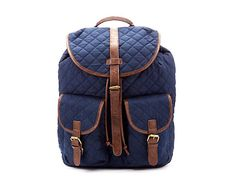 Navy Quilted Wax Backpack