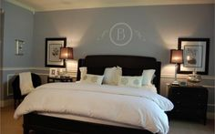 Bedrooms benjamin moore gentle gray blue black wood bed
