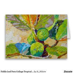 Fiddle Leaf Fern Collage Tropical Plant Ferns Greeting Card
