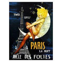 Paris La Nuit Canvas Print by Vintage Fair | Zanui