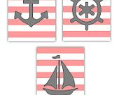 Art for Girls, Nautical Room Decor, Wall Art, Set of three- 8x10 prints, Cute with Striped or Nautical themes or toddler room