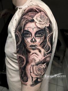 Catrina tattoo by rafael fabozzo clown face tattoo, skull girl tattoo, sugar skull tattoos Dope Tattoos, Chicano Tattoos, Bild Tattoos, Leg Tattoos, Body Art Tattoos, Sleeve Tattoos, Tatoos, Skull Girl Tattoo, Girl Face Tattoo
