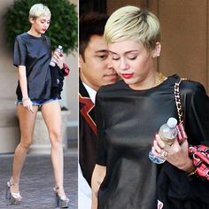 Miley Cyrus wears short shorts & addresses Jennifer Lawrence's new hair cut. Click for more!