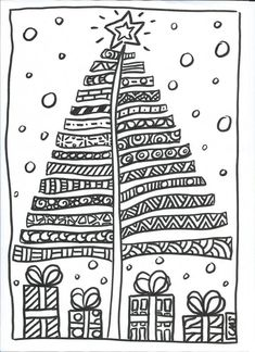 Zentangle Christmas Tree & Presents Doodle Christmas Activities, Christmas Crafts For Kids, Xmas Crafts, Christmas Printables, Christmas Projects, Christmas Decorations, Christmas Doodles, Christmas Coloring Pages, Noel Christmas