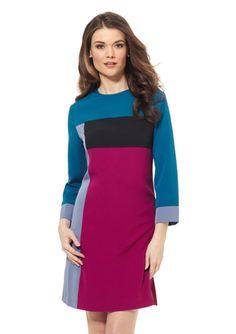 ELIZA J Colorblock Long Sleeve Dress