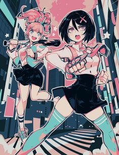 River City Girls by Parororo on DeviantArt Fan Art Anime, Anime Art Girl, Cute Art Styles, Cartoon Art Styles, Aesthetic Art, Aesthetic Anime, Pastel Goth Art, Art Manga, Poses References