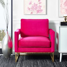 hot pink modern chair, gold accents, white wall, pink floral wall art, black rug, fuchsia, bright pink, pantone pink yarrow