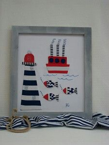 Motivos marineros en tonos azul y rojo
