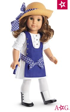 Rebecca's Play Dress $32 Rebecca loves to explore New York in this fun and fashionable play outfit. The short-sleeved dress features cuffs and ruffles with decorative button details and a contrast overdress with a sash bow. White tights, two-tone boots, and a straw hat complete the look.