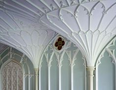 Audley, Essex, England... detail of Chapel interiors ornamented fan vaulting...