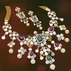 Jewellery Designs: Pachi Necklace with Square Shaped Stones