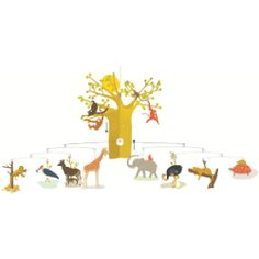 This has to be one of the most beautiful mobiles I have seen! The detail on the animals and the baobab tree makes you feel like you have a little piece of the african plain in your child's bedroom. The animals come to life when they catch even the slightest breeze. This would make a special christening present for a boy or girl.  The mobile measures 80 x 40 cm The African Savannah Mobile by Djeco - MySmallWorld.co.uk