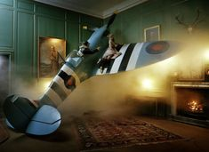 Lily Donaldson & Jonsa Kesseler With Spitfire, Glemham Hall, Suffolk, UK, 2009, British Vogue, Photography: Tim Walker