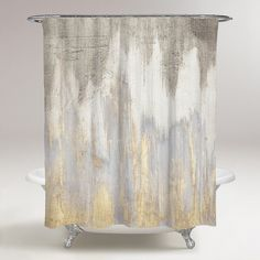 Shop for Oliver Gal 'Golden Caves' Abstract Decorative Shower Curtain - Gray, Gold. Get free delivery On EVERYTHING* Overstock - Your Online Shower Curtains & Accessories Store! Grey Curtains, Lined Curtains, Plywood Furniture, Furniture Sale, Furniture Design, Eames, Gold Shower Curtain, Elegant Shower Curtains, Bathroom Shower Curtains