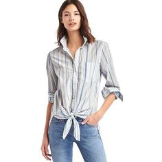 Gap Women Tie Front Print Shirt ($35) ❤ liked on Polyvore featuring tops, blue stripe, tall, white plaid shirt, long sleeve shirts, tie front shirt, blue plaid shirt and long sleeve tops