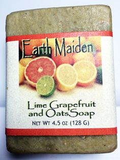 The spa-like aroma of Lime Grapefruit soap by Earth Maiden is captured in this rejuvenating, skin toning soap