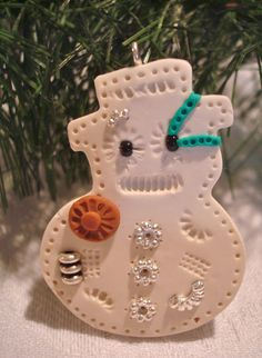 STEAMPUNK SNOWMAN  Polymer Clay Ornament by KatersAcres on Etsy, $6.00