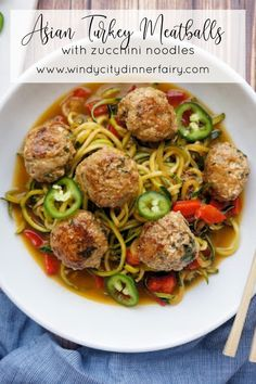 Spicy Asian Meatballs with Zucchini Noodles - The Windy City Dinner Fairy - Asian Recipes - Asian Recipes Healthy Asian Recipes, Spicy Recipes, Healthy Dinner Recipes, Grilling Recipes, Delicious Recipes, Healthy Pasta Dishes, Healthy Pastas, Zoodle Recipes, Pasta Recipes