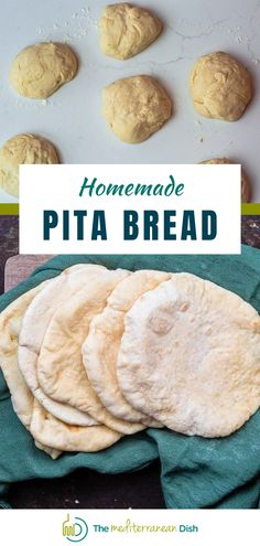 This Homemade Pita Bread recipe is easy to make and requires a few ingredients you may already have on hand! Mix up the very simple dough, let it rise, and experience the magic of fresh, warm, perfectly puffy homemade pita bread. #homemadepita #pitabread #pitarecipes