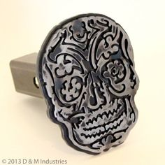 """Sugar Skull Badge Cut Steel Trailer Hitch Cover - 8"""" Tall! Clear Powdercoated << holy crap that's so cool!"""
