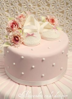 Baptism Cake (without the shoes. and better flowers). Torta Baby Shower, Tortas Baby Shower Niña, Cute Cakes, Pretty Cakes, Beautiful Cakes, Christening Cake Girls, Baptism Cakes, Bolo Cake, Baby Girl Cakes